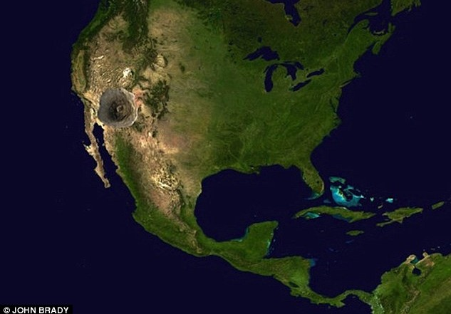 Severna Amerika u poređenju sa marsovskim vulkanom Olimpom. Foto: John Brady