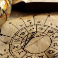 Ancient, hand-drawn horoscope with zodiac signs