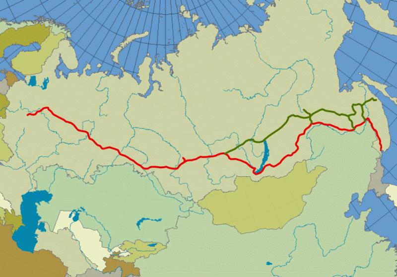 Mapa Transsibirske železnice