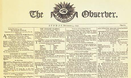 "Prvo izdanje nedeljnika ""The Observer"""