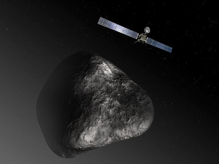 Ilustracija letelice Rozeta i komete