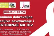 Besplatno savetovanje i testiranje na HIV u Somboru