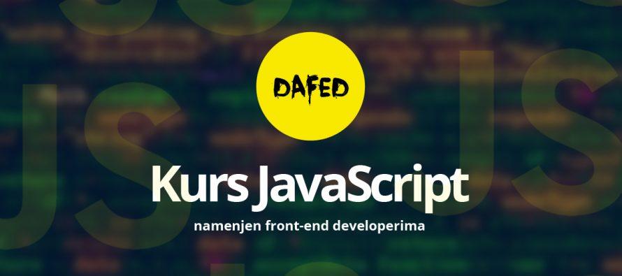 DaFED pokreće kurs JavaScript u Novom Sadu za front-end developere